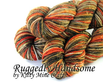 Donegal Tweed Superwash Worsted Yarn - Ruggedly Handsome - 100g, 183yd - Hand Dyed - Knitting, Crochet - Wool Yarn - Orange, Tan, Olive