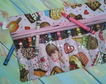 """Zippered Crayon Case,  Pink with Ice Cream and Cupcake Treats, 6"""" x 9.5"""""""