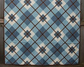 Flannel Blue and Brown Argyle Lap-Size Quilt