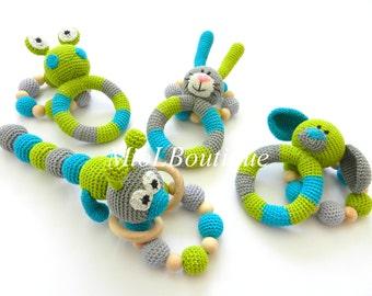 Baby rattle Baby teething SET of 2 Crochet Teething baby toy Grasping Frog Bunny Dog Stuffed toys Baby shower gift