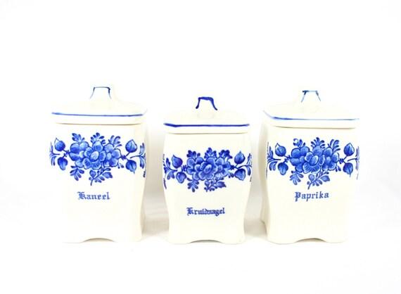 blue white ceramic kitchen canister set spice jars canisters circa white ceramic kitchen canister set
