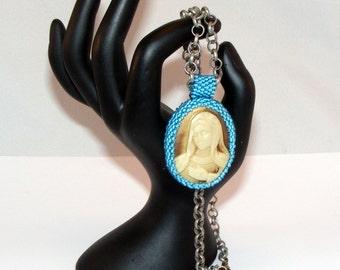 """Golden Resin Cabochon, Necklace, Golden Madonna, Blue Bead Bezel, Blue Beaded Bail, Bronze 16"""" Chain, Spiritual"""
