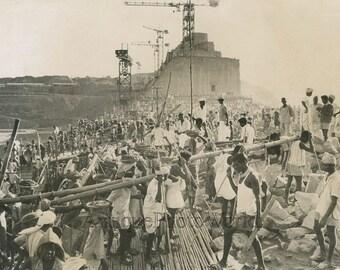 India construction native men builders vintage art photo