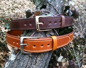 """Handmade Leather concealed carry heavy duty gun belt 1.5"""" two 2 ply"""