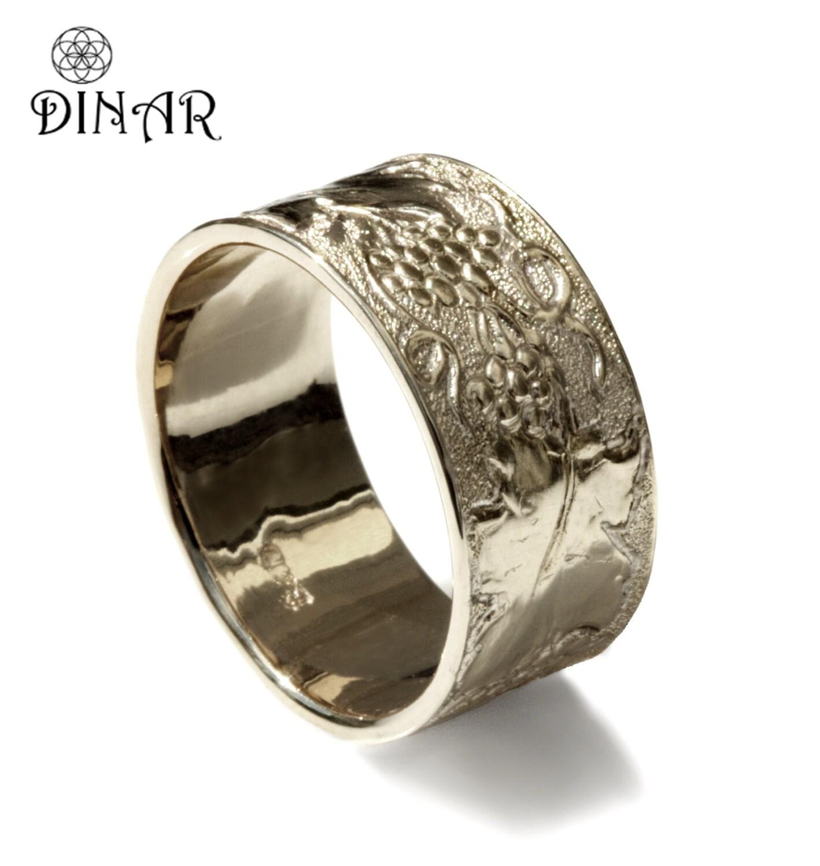 Hand engraved grapevine band 14k white Gold leaf wedding