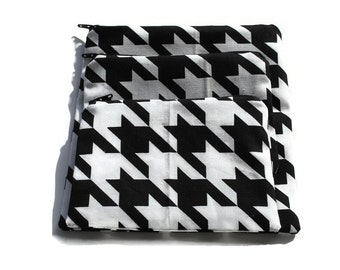Reusable Zipper Snack Sandwich Bags set of 3 Black  White Houndstooth Cotton Twill