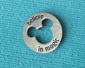 "Disney Pewter ""Believe in Magic"" Token Coin - ""Pieces of Magic"" with Mickey Head Cutout"