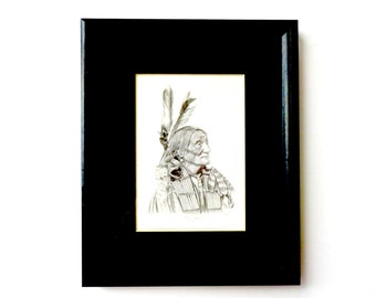 Chief Crazy Bear, American Indian Rendering, Signed, Numbered by Ken West, Chief Crazy Bear by Ken West, Collectible Art