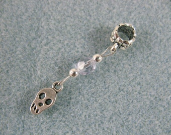 Dreadlock charm dangle with tiny skull and lavender crystal