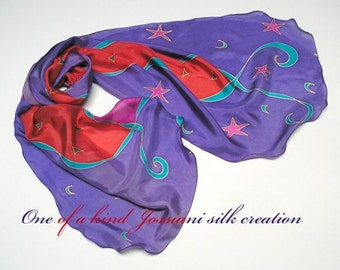 Hand Painted Silk Scarf, Unique Handmade, Stars and Moons, Large Scarf,  Multicolor Scarf, Unique Silk Scarf, One of a Kind, Jossiani
