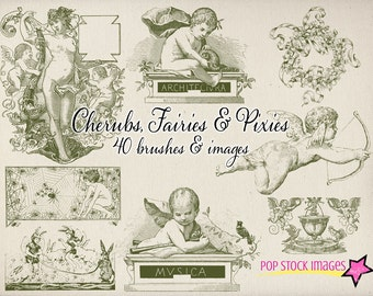 Cherubs, Pixies and Fairies Photoshop Brushes Set - Photoshop Brushes - Angels - Frames - Ornaments - Photoshop Elements Brushes