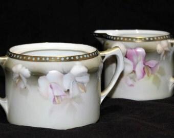 Vintage Art Nouveau RS Prussia Reinhold Schlegelmilch Germany Porcelain China Sugar & Creamer Set
