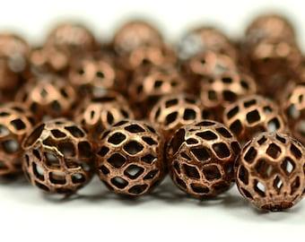 25 Pcs Copper Plated  Oval Filigree Bead 8mm