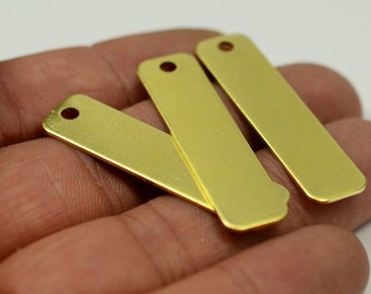 10 Pieces Raw Brass 10x40 mm Rectangular Stamping Tag Findings