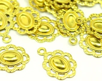 75 Pieces Raw Brass 15x10 mm Filigree Findings