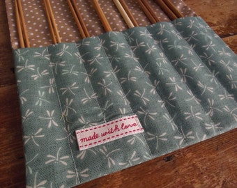 Green Dragonfly Knitting Needle Roll