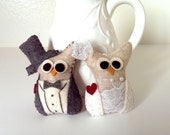 Owl Wedding Decor / Owl Decor / Felt Christmas Ornament /  Bride and Groom in gray tux / Owl Ornaments / Woodland Wedding / Owl wedding gift