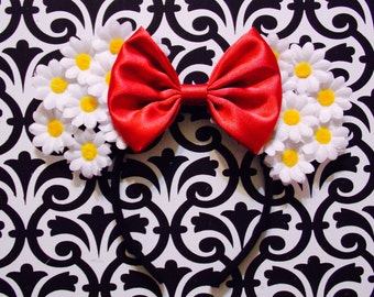 Cute White Daisy Flower Red Bow Tie inspired Minnie Mouse Headband Ears