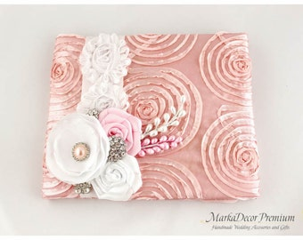 READY TO SHIP Wedding Birthday Lace Guest Book Custom Bridal Flower Brooch Guest Books in Pink and White