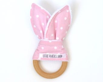 Bunny Teether Bunny Ear Teether Teething Ring Lovie Wooden Teether Baby Easter Basket Easter Bunny Teething Ring Baby Valentines Day Gift
