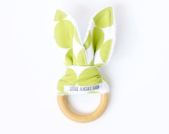 Bunny Teether Spring Green. Easter Bunny. Teething Ring. Wooden Teething Ring. Orgainc Bunny Teether. Teething. Lovie. Teething Lovie.
