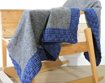 SALE, crocheted blanket, grey moving blanket with navyblue cotton