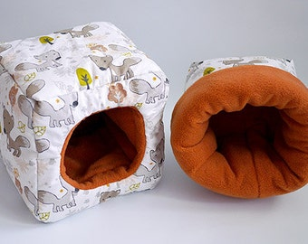 SAVE SHIPPING: 1x cosy cuddle sack / sleeping bag + 1x cube for guinea pigs, hedgehogs or sugar gliders (foxes/terracotta)