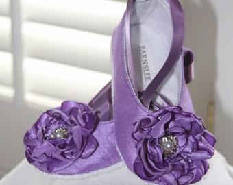 Purple Ballet slippers Baby Shoes,Wedding, Special Occasion, Birthday Size 2.5, S-XL , Soft Sole,