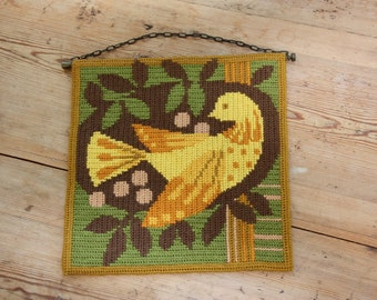 Lovely twist stitch wool embroidered dove wall hanging from Sweden