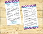 Double Sided Mini Facial Card with Ingredient List, Quatrefoil Design - DIGITAL FILE