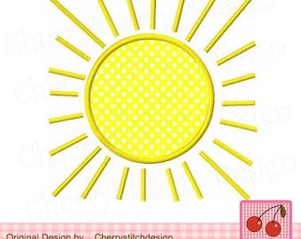 "Sunshine Summer Sun Machine Embroidery Applique Design-4x4 5x5 6x6"""