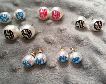 Monogram pearl earrings