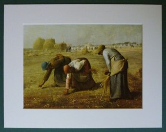Mounted Print of 'The Gleaners' by Jean-Francois Millet Rural peasant decor, rustic countryside art - Available Framed - Country Art