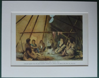 Vintage Print of Cree Native American Indians Vintage tipi tent interior decor, North American indigenous wall art - Tepee Gift - Teepee Art