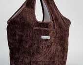 Large Chocolate Chenille Urban Shopping Tote
