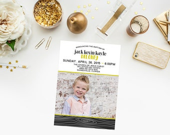 Baptism Announcement/Invitation - Wood - with photo - Modern - you print -