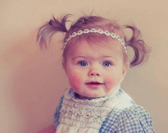 Off White Cream Light Blue  Headband ,Flowers headband  ;  Newborn Baby Girl  Headband