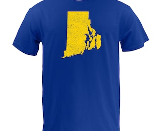 Distressed Rhode Island State Shape - Royal