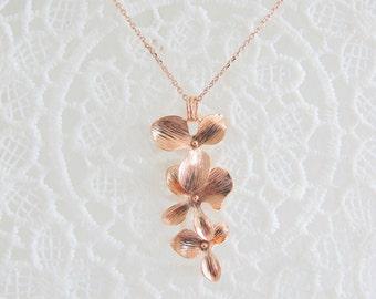 Rose Gold Triple Orchids NL20168