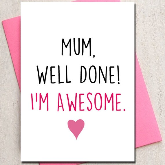 Mothers Day Love Card Mum Awesome Mom Mum Card Birthday – Mother Birthday Card Printable