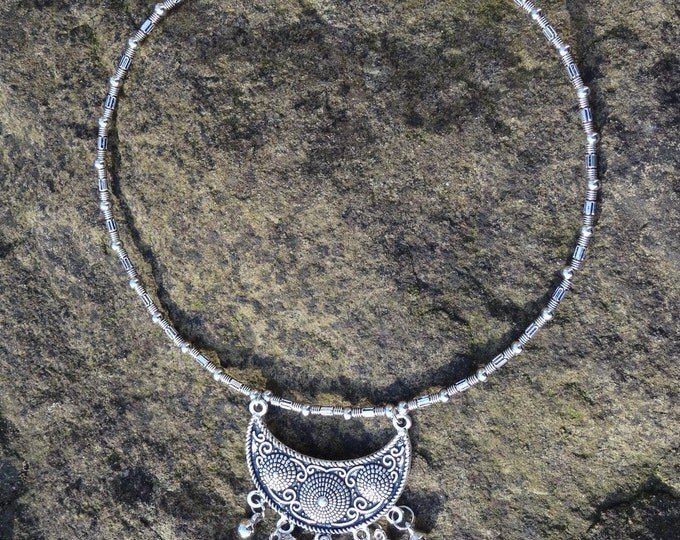 Ethnic Silver Crescent with Bells Choker Style Necklace
