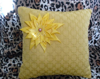 """Full decorative pillow """"Sunshine"""",home decor,gift for her, summer decor,with flower in Kanzashi style, size 13in. x 13in."""