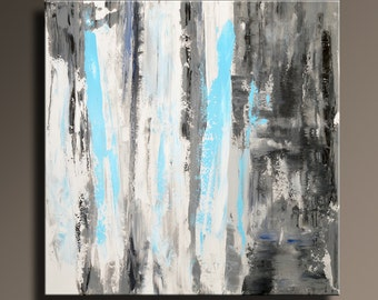"36"" ORIGINAL ABSTRACT White Gray Blue Black Painting on Canvas Contemporary Abstract Modern Art Rustic wall decor - Unstretched - SQ04"