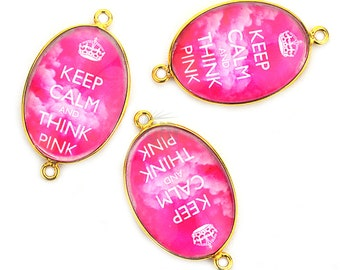 Fascinating Keep Calm Pink Glass Cabochon Bezel Connector, 24K Gold Plated, Double Bail 1pc (PP-10503)