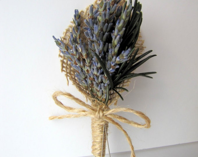 Lavender and Rosemary Boutonniere, Lavender Boutonniere, Lavander Boutonniere, Rustic Boutonniere, Dried Lavender, Burlap Boutonniere