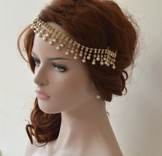 Wedding Hair With Rhinestone Headband : Wedding hair accessory gold rhinestone headband bridal by