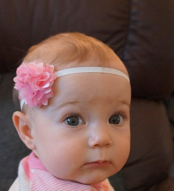Baby Headbands, Mini Chiffon Flower on thin elastic, new born head bands, photo prop headbands