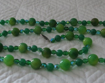 Agate, Glass Bead and Austrian Crystal 36 Inch Necklace