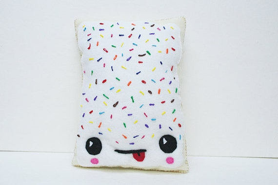 Custom Squishy Pillows : Breakfast Pastry Pillow Toaster Pastry Rainbow Sprinkles