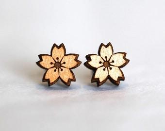 Laser Cut Wooden Sakura Cherry Blossom Earrings
